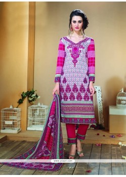 Trendy Multi Colour Print Work Designer Straight Salwar Kameez