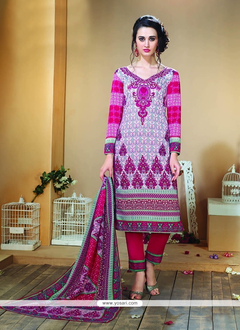 Trendy Multi Colour Print Work Designer Straight Salwar Kameez