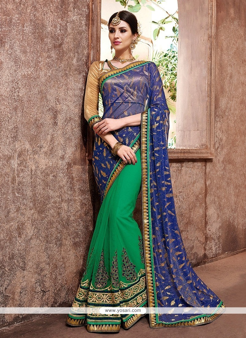 Lovely Net Embroidered Work Trendy Saree