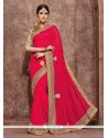 Beckoning Hot Pink Patch Border Work Classic Designer Saree