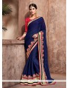 Navy Blue Embroidered Work Faux Chiffon Designer Traditional Sarees