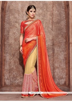 Extraordinary Chiffon Satin Embroidered Work Designer Traditional Sarees