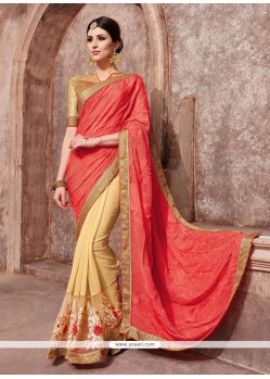 Sightly Beige Patch Border Work Classic Designer Saree