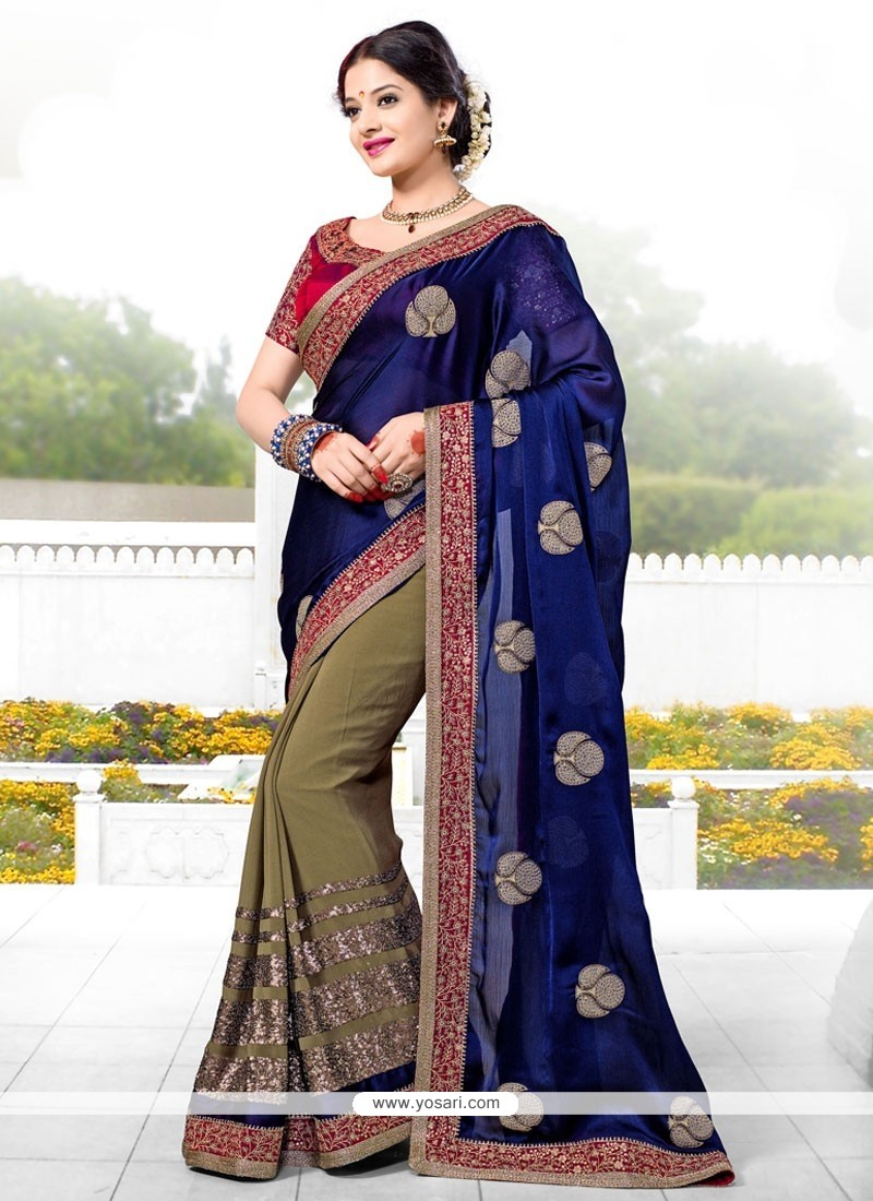Beige And Blue Georgette Designer Saree