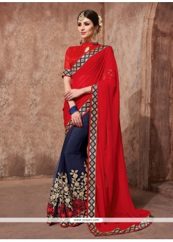 Exceeding Navy Blue Embroidered Work Net Designer Saree