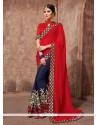Exceeding Navy Blue Embroidered Work Net Designer Saree