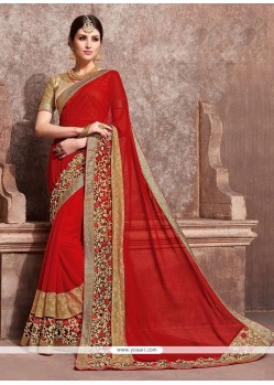 Absorbing Georgette Red Traditional Saree