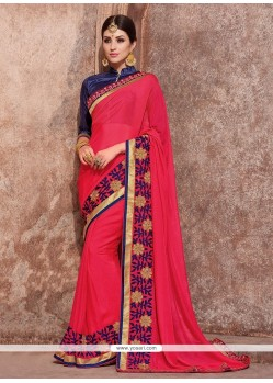 Fetching Chiffon Satin Embroidered Work Classic Saree