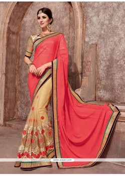 Invigorating Faux Chiffon Patch Border Work Classic Designer Saree