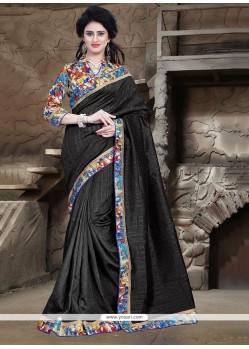Vivid Bhagalpuri Silk Black Patch Border Work Printed Saree