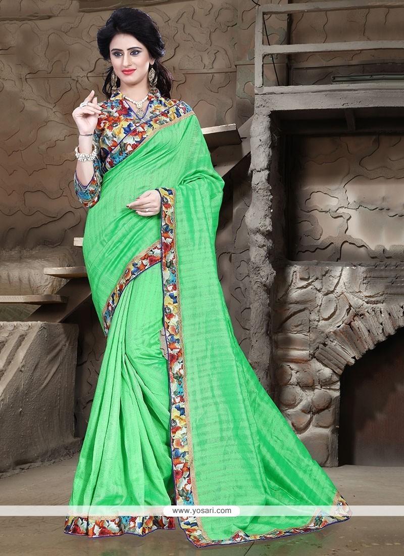 Mystical Sea Green Patch Border Work Bhagalpuri Silk Printed Saree