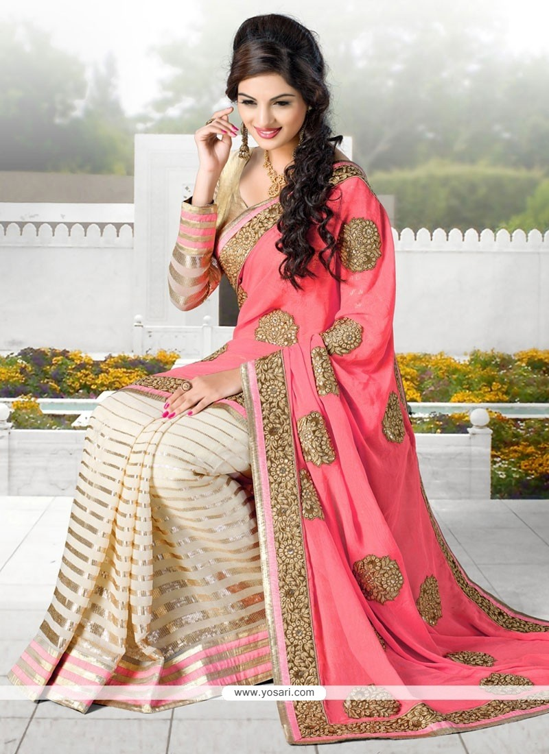 Dazzling Pink And Cream Georgette Designer Saree