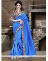 Modernistic Bhagalpuri Silk Blue Printed Saree