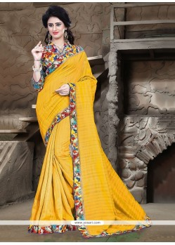 Enthralling Yellow Patch Border Work Bhagalpuri Silk Printed Saree