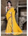 Enthralling Yellow Patch Border Work Bhagalpuri Silk Printed Saree