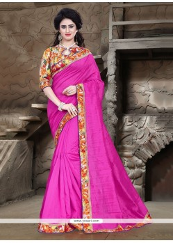 Pleasance Bhagalpuri Silk Patch Border Work Printed Saree