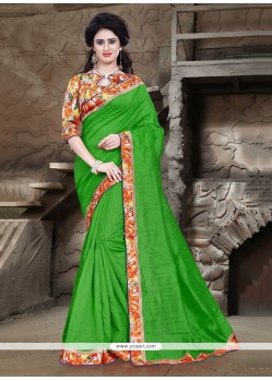 Glitzy Patch Border Work Green Bhagalpuri Silk Printed Saree