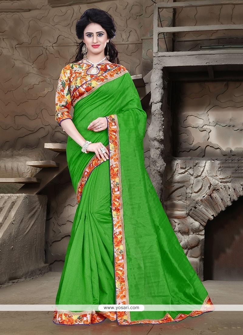 Glitzy Patch Border Work Green Bhagalpuri Silk Printed Saree
