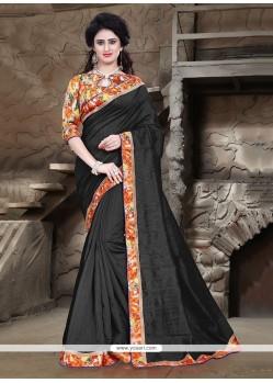 Immaculate Bhagalpuri Silk Black Printed Saree