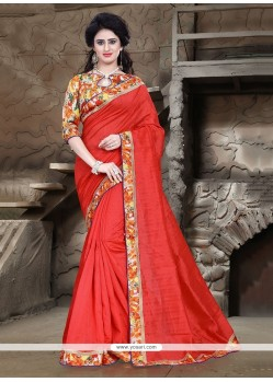 Festal Bhagalpuri Silk Patch Border Work Printed Saree
