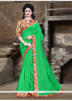 Adorable Green Printed Saree
