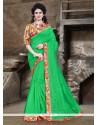 Adorable Green Printed Saree