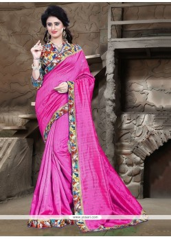 Mystical Hot Pink Patch Border Work Printed Saree
