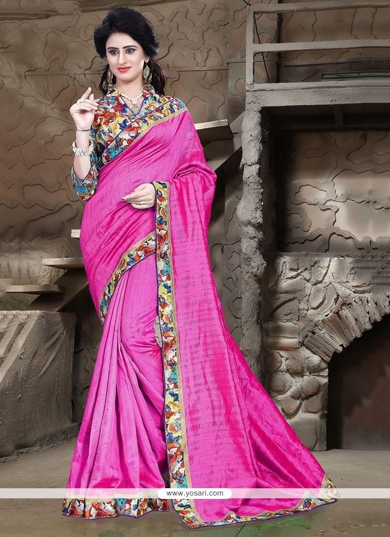 Mystical Hot Pink Patch Border Work Printed Saree