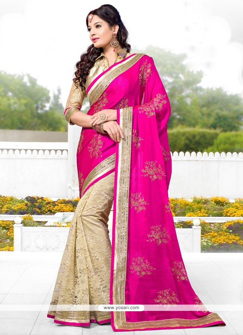 Pink And Cream Satin Chiffon Designer Saree
