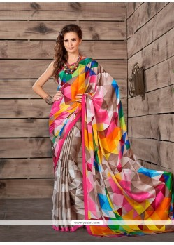 Beauteous Multi Colour Print Work Faux Crepe Printed Saree