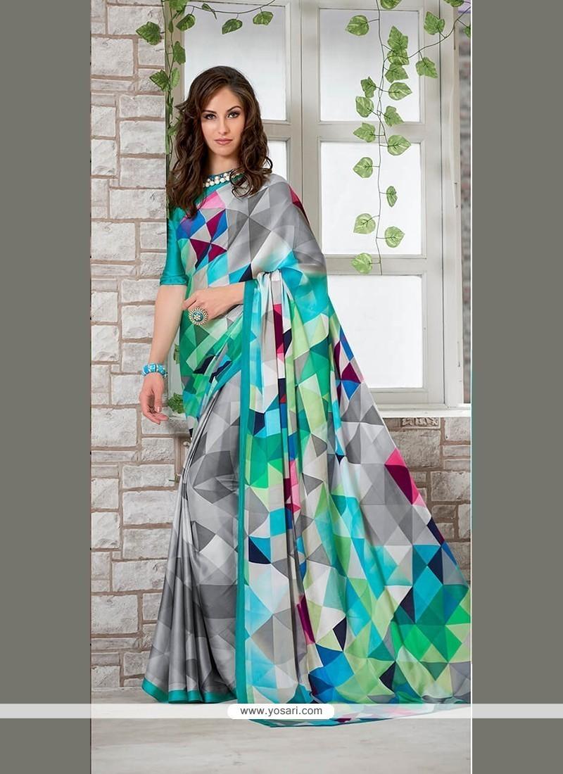 Staggering Faux Crepe Multi Colour Printed Saree