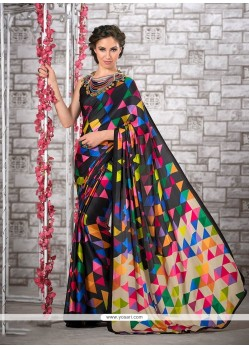 Sightly Print Work Multi Colour Printed Saree