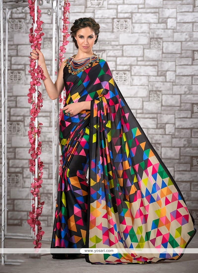 Sightly Print Work Multi Colour Printed Saree
