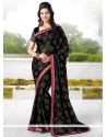Black Satin Chiffon Party Wear Saree