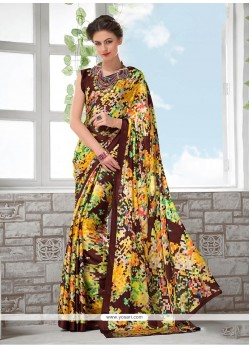 Ravishing Faux Crepe Printed Saree