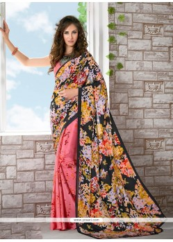 Subtle Print Work Multi Colour Printed Saree