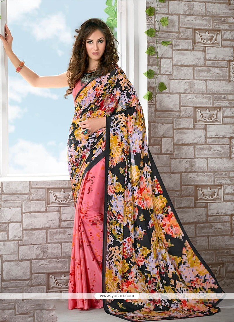 Subtle Print Work Multi Colour Printed Saree