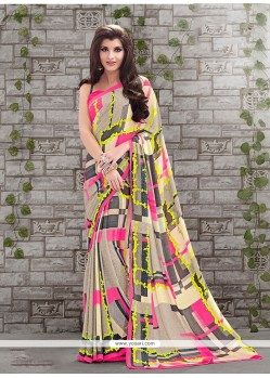 Intrinsic Faux Crepe Printed Saree