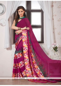 Gleaming Georgette Multi Colour Print Work Casual Saree