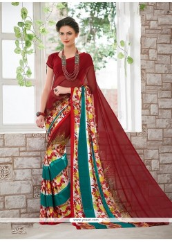 Voguish Multi Colour Print Work Casual Saree