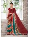 Voguish Multi Colour Print Work Casual Saree