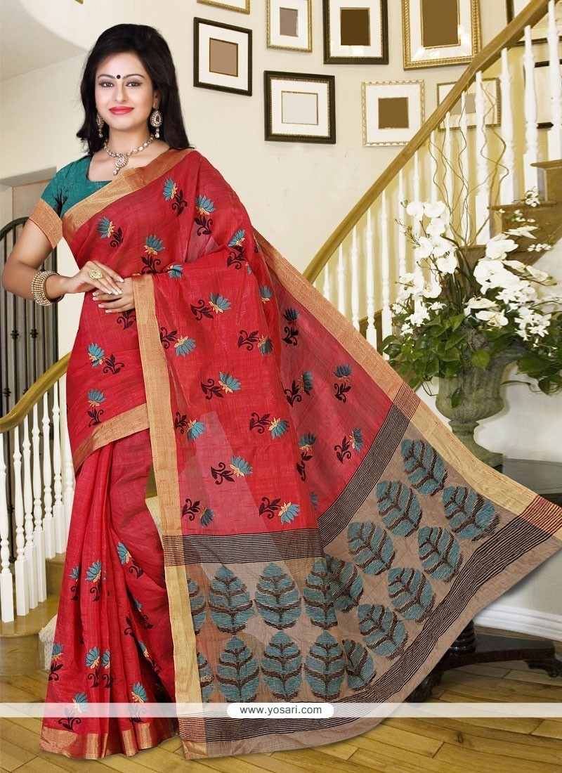 Marvelous Silk Red Casual Saree