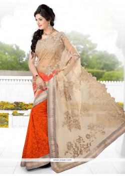 Cream And Orange Net Designer Saree