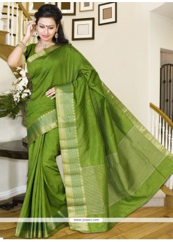 Green Print Work Silk Casual Saree
