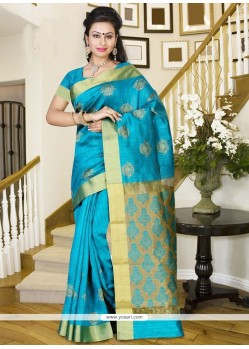 Glamorous Blue Print Work Silk Casual Saree