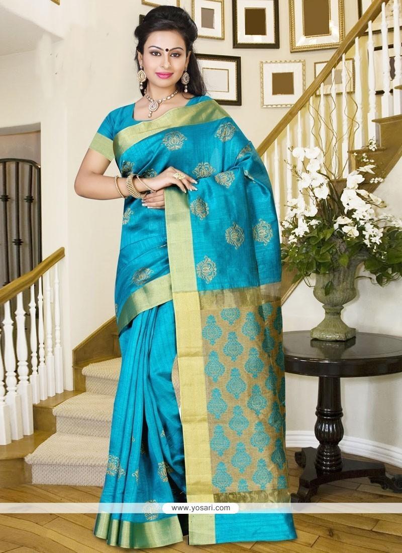 Glamorous Blue Print Work Silk Casual Saree