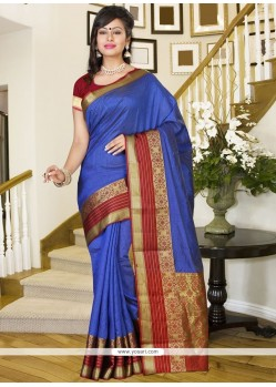 Voluptuous Print Work Silk Casual Saree