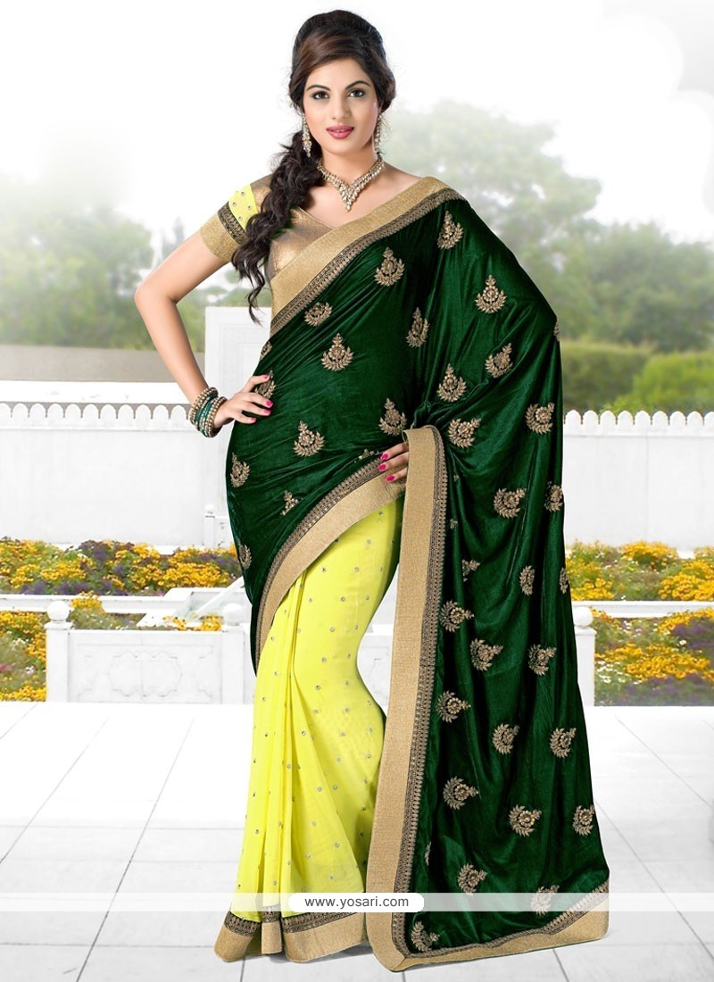 Green And Yellow Velvet Designer Saree