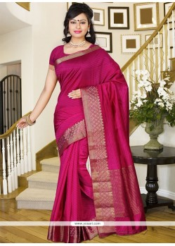 Aesthetic Print Work Hot Pink Casual Saree