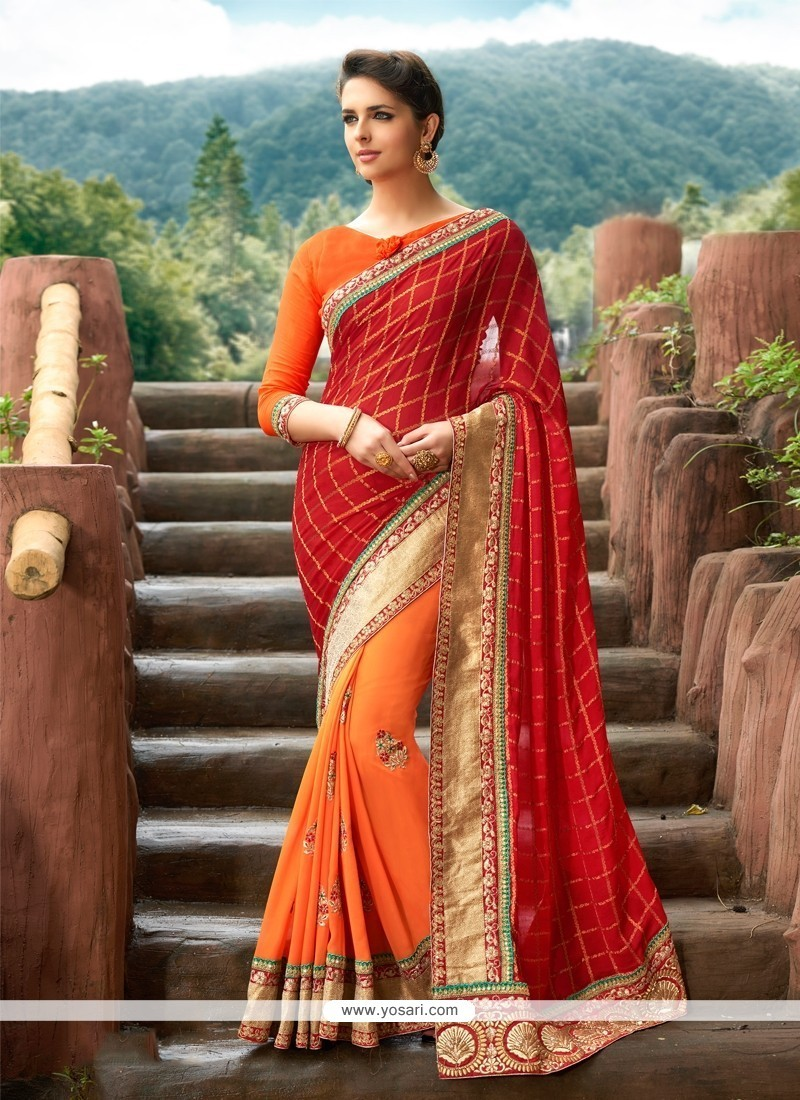 Jazzy Patch Border Work Georgette Designer Traditional Sarees